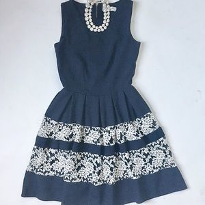 Closet Navy Cream Lace Dress